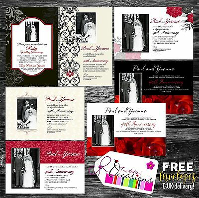 40th RUBY WEDDING ANNIVERSARY INVITATIONS X 5 (40th Anniversary Invitations)