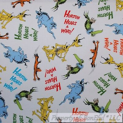 Dr Seuss Characters Costumes (BonEful FABRIC FQ Cotton Quilt White Blue Horton Hears a Who Dr Seuss Elephant)