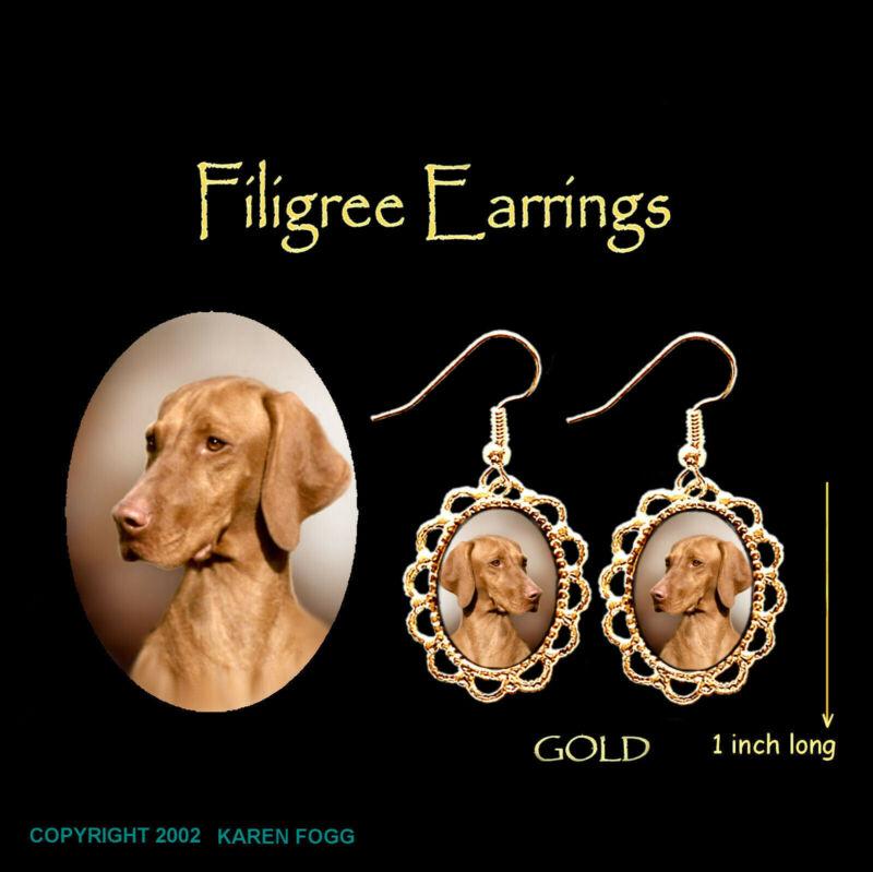 VIZSLA DOG - GOLD FILIGREE EARRINGS Jewelry