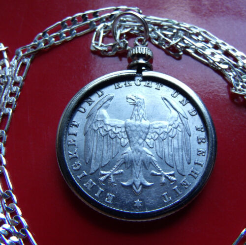 "1923 GERMAN EAGLE 500 MARK Coin Pendant on a 20"" .925 Sterling Silver Chain"