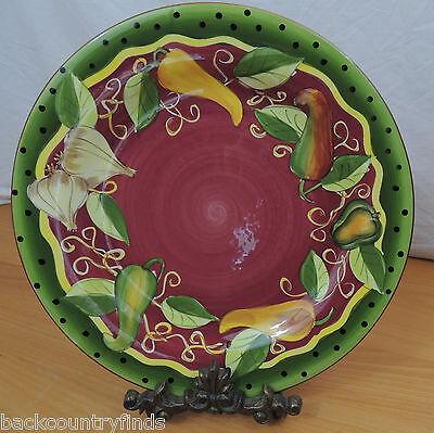 Black Rimmed Dinner Plate - Gates Ware Vegetables Dinner Plate Burgundy with Black Dots on Green Rim 11 7/8