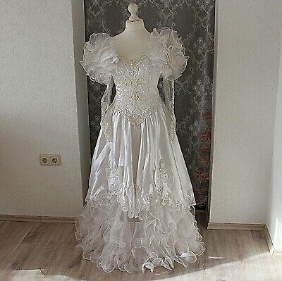 Kleid Brautkleid Gr 36 Perlen bestickt auch als Kostüm Theater Mottoparty Karnev