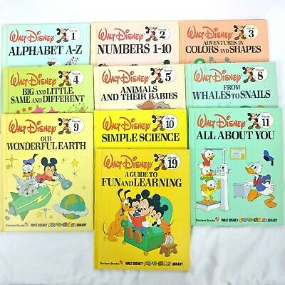 Lot of 10 Walt Disney Fun-To-Learn Library Series Collection Bantam Book