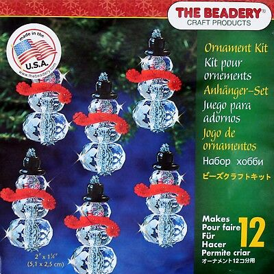 The Beadery - Faceted Snowman Ornament Kit - Make 12 that Measure: 2″ x 1″ - NEW - Snowman Kit