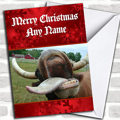 Funny Crazy Mad Cow Personalized Christmas Card ()