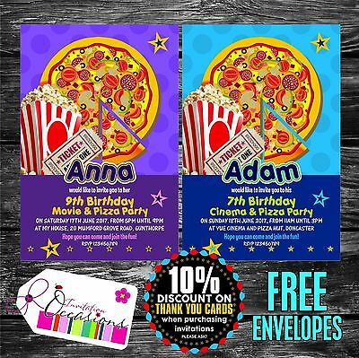 Personalised Birthday Invitations Movie & Pizza Party x 5