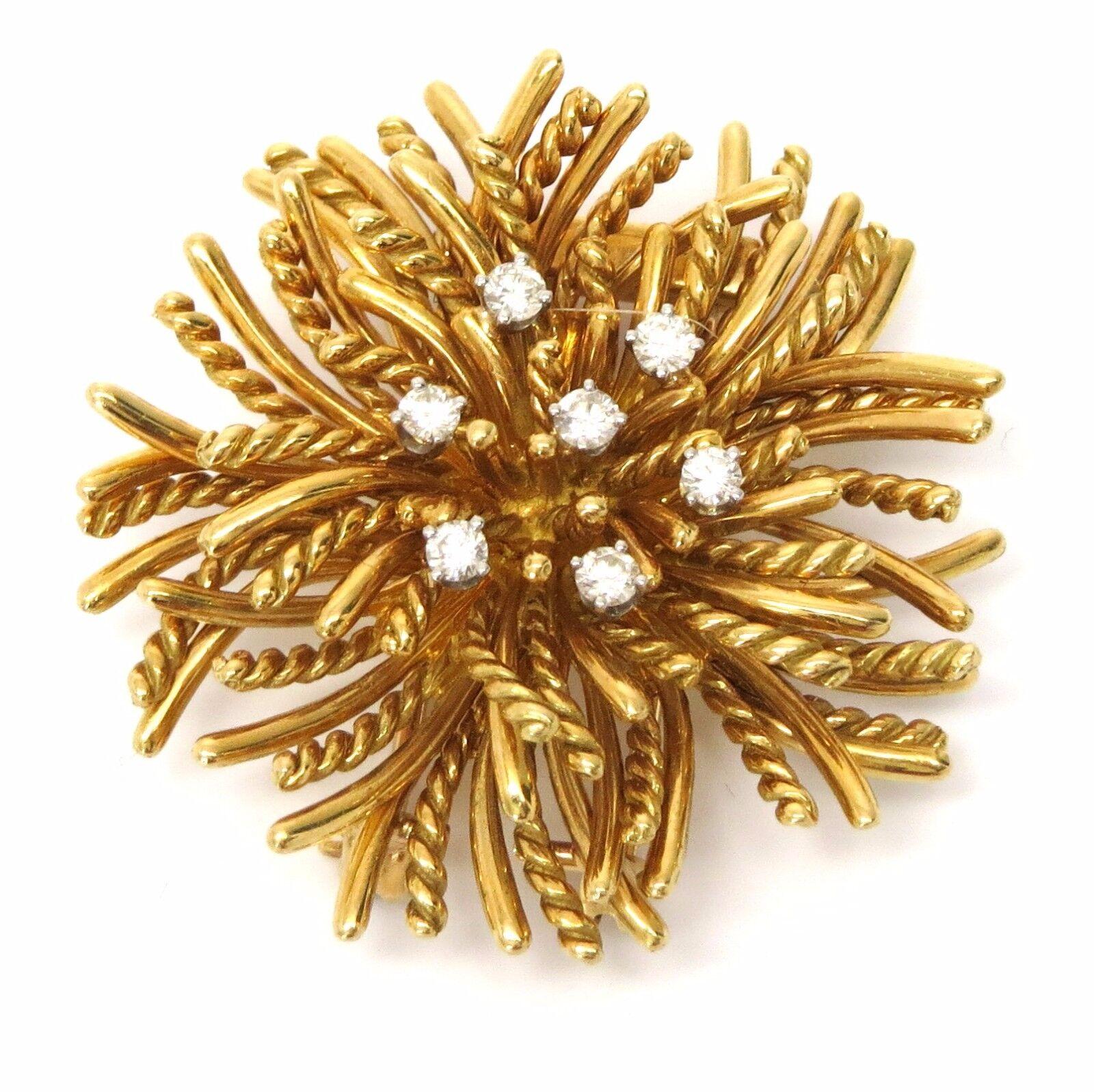 Tiffany & Co Anemone Gold Diamond Brooch Pin