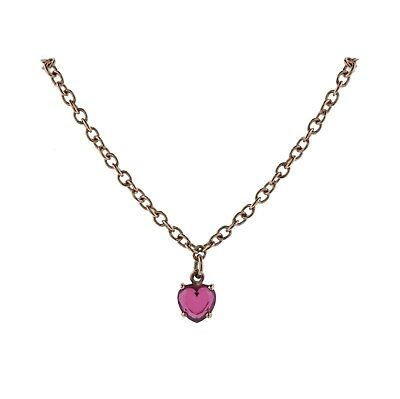 Dodo Amore 9K Rose Gold Synthetic Ruby Heart Pendant Necklace