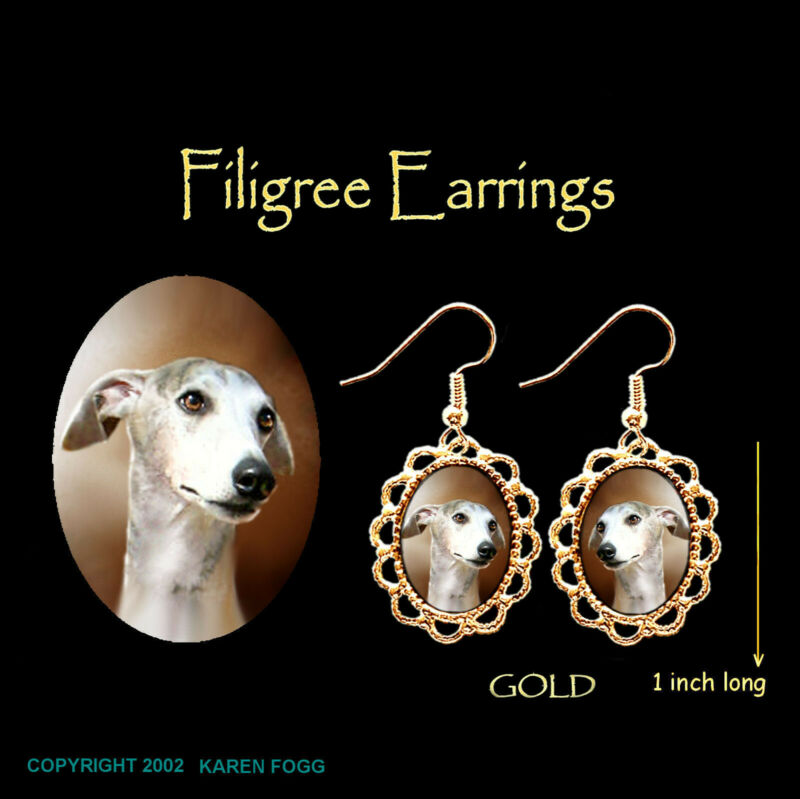 WHIPPET DOG Grey - GOLD FILIGREE EARRINGS Jewelry