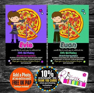 Personalised Birthday Invitations Laser Tag & Pizza Party x 5