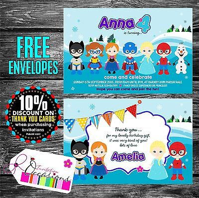 Personalised Superhero and Frozen theme Party Invitations x 5](Frozen Theme Invitation)