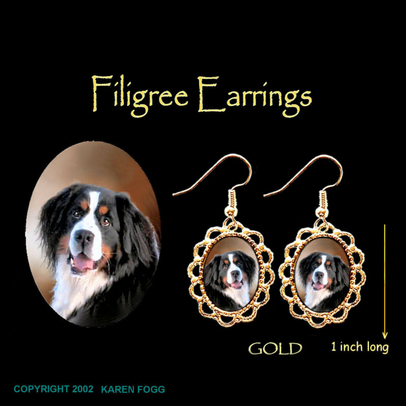BERNESE MOUNTAIN DOG - GOLD FILIGREE EARRINGS Jewelry