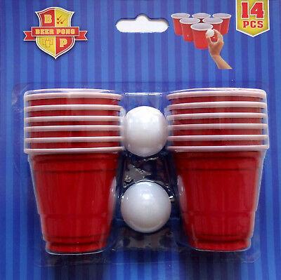 1x 2x 3x 14pc Mini Bierpong Set Beer Pong Ball Paryspaß Spiel Trinkspiel Becher