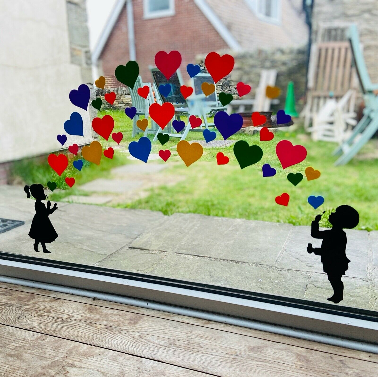 Home Decoration - Girl and Boy Blowing Rainbow Bubble Heart Stickers - Create Window Wall Glass
