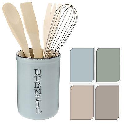 shabby chic glazed ceramic kitchen utensil holder with whisk spoon