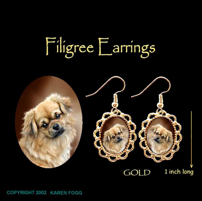 TIBETAN SPANIEL DOG - GOLD  FILIGREE EARRINGS Jewelry