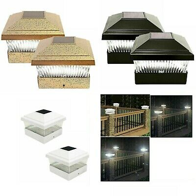 Solar Powered LED Deck Post Cap Garden Lights Bright White Fence Outdoor - Solar Powered Post Caps