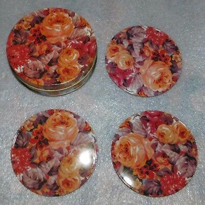 Rose Floral Coasters Set Lot 3 Metal Tin Cork Backing Round Beverage Drink