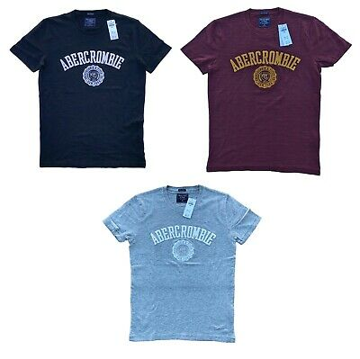 Abercrombie & Fitch Men's Graphic T-shirt APPLIQUE LOGO TEE  All Sizes Free Ship