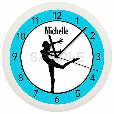 Gymnastics Wall Clock Personalized Gift Dance Ballet Ballerina Gymnist Girl Teal