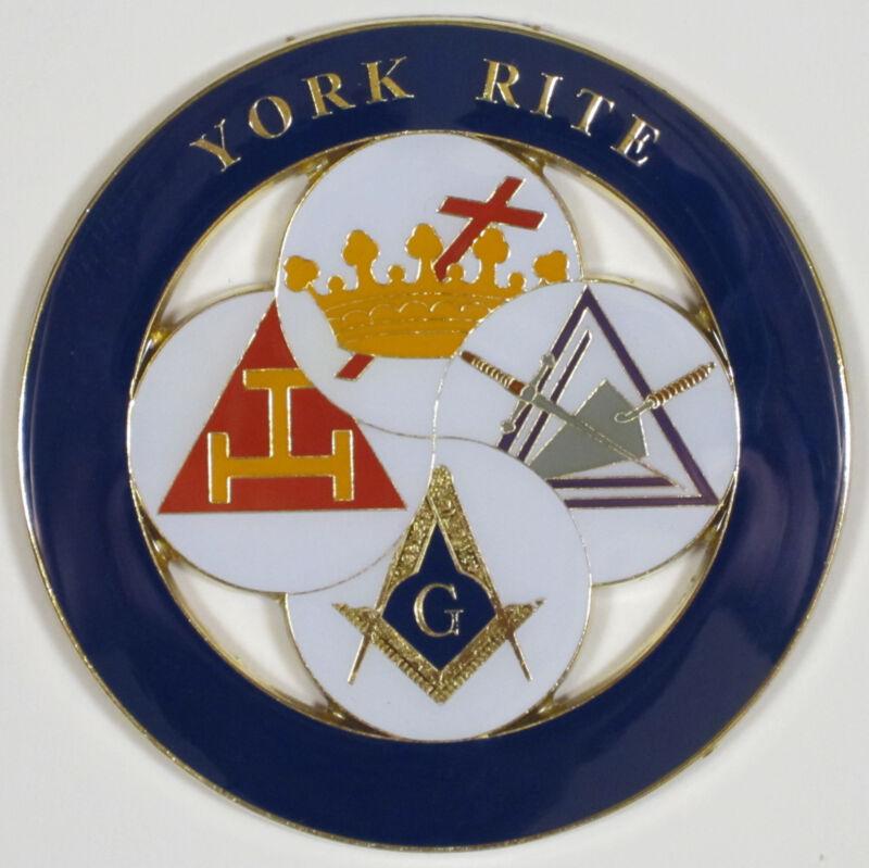 Auto Emblem York Rite Metal Enamel Freemason Mason Masonic