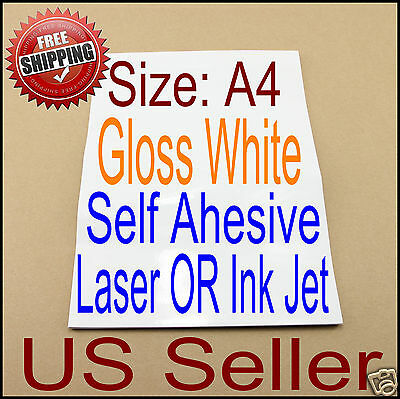 как выглядит 20x A4 Printable Gloss White Self Adhesive Sticker Paper Ink Laser Printer фото