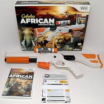 New Wii Wii U Cabelas African Adventures Game W Top Shot Elite Rifle Gun Bundle