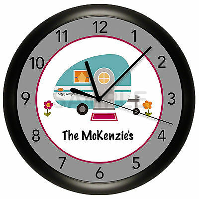 Happy Camper Wall Clock Personalized 10 Inch Camping Campground Gray