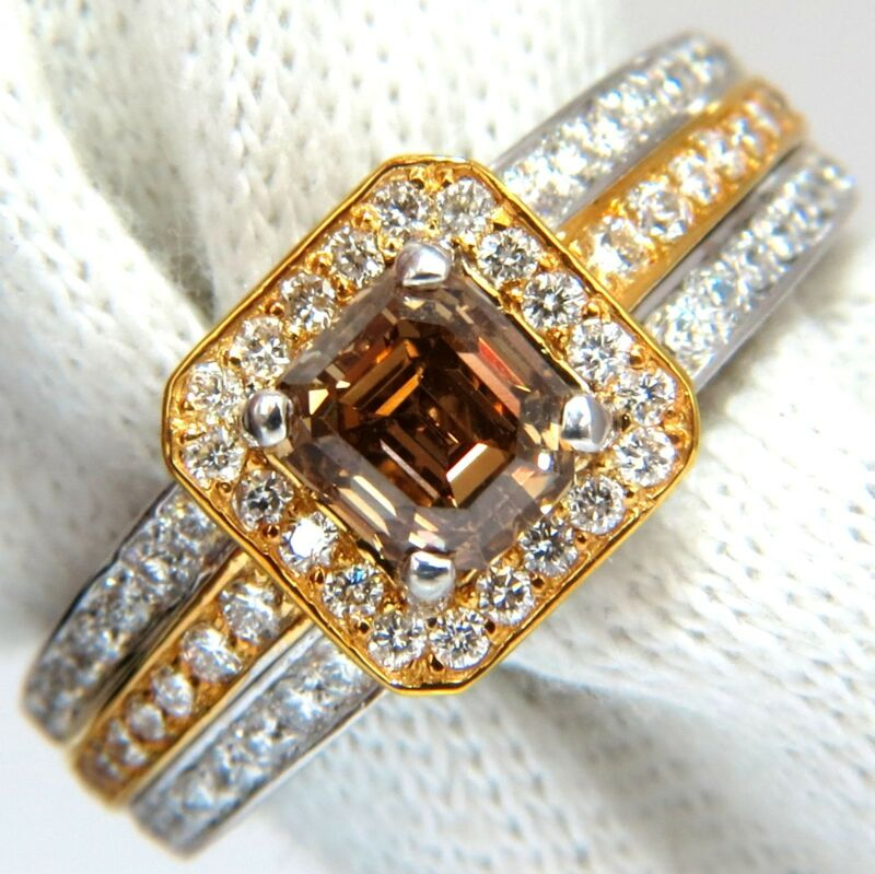 $11000 3.10ct natural fancy yellow brown diamond raised halo mod deco ring 14kt