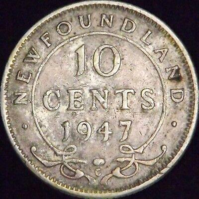 1947-C Canada - Newfoundland Silver 10 (Ten) Cents - KM# 20a - VF++