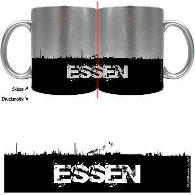 Metallic-kaffee (knallige Tasse mit rundum Motiv: ESSEN Skyline ~ Farbe: silber-metallic ~ Kaffee)