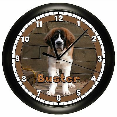 SAINT BERNARD WALL CLOCK PERSONALIZED ST. GIFT DOG PET VET NAME BROWN CANINE