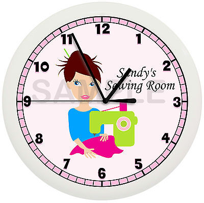 PERSONALIZED SEAMSTRESS WALL CLOCK SEWING CRAFT ROOM QUILT SEW MOM MACHINE