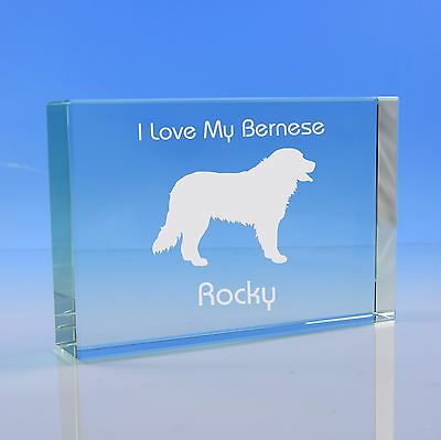 Bernese Mountain Dog Lover Gift Personalised Hand Engraved Paperweight Gift