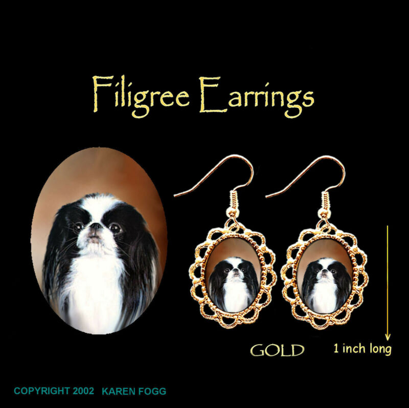 JAPANESE CHIN DOG - GOLD FILIGREE EARRINGS Jewelry