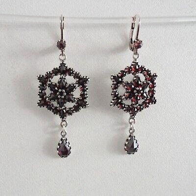 Granatschmuck Granat Ohrringe Damen Trachten Retro Vintage antik Silber 925/-