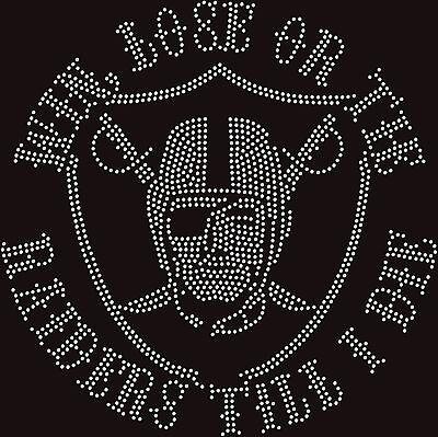 Raiders Win Lose Tie NFL Football Sexy Hotfix Iron On Rhinestone Shirt Transfer ()