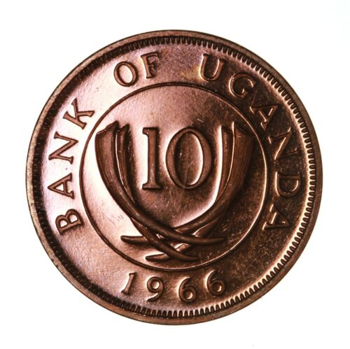 Raw 1966 Bank Of Uganda Proof 10 Cents Coin