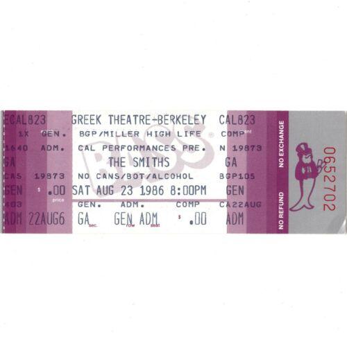 THE SMITHS Concert Ticket Stub BERKELEY CA 8/23/86 GREEK THEATRE MORRISSEY Rare