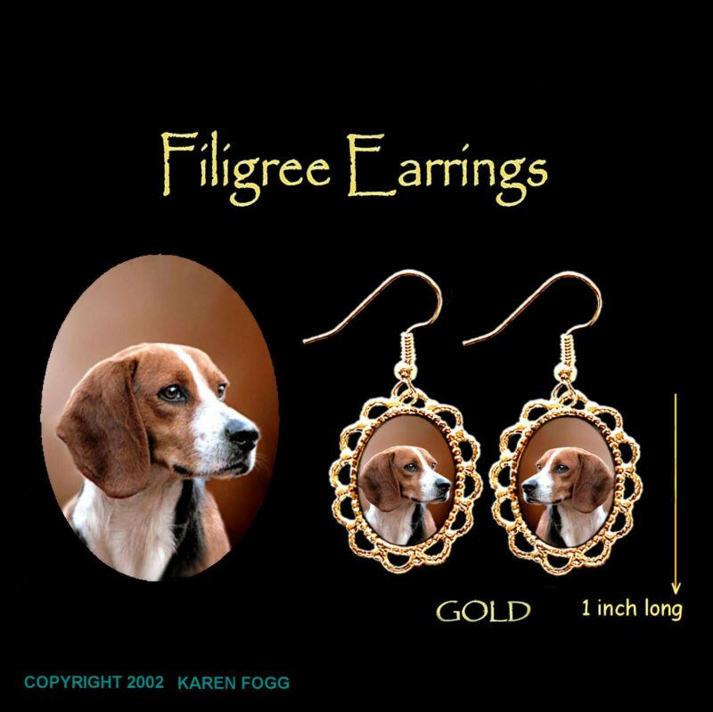 BEAGLE DOG - GOLD FILIGREE EARRINGS Jewelry