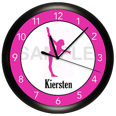 Gymnastics Wall Clock Personalized Gift Dance Ballet Ballerina Gymnist Girl Pink