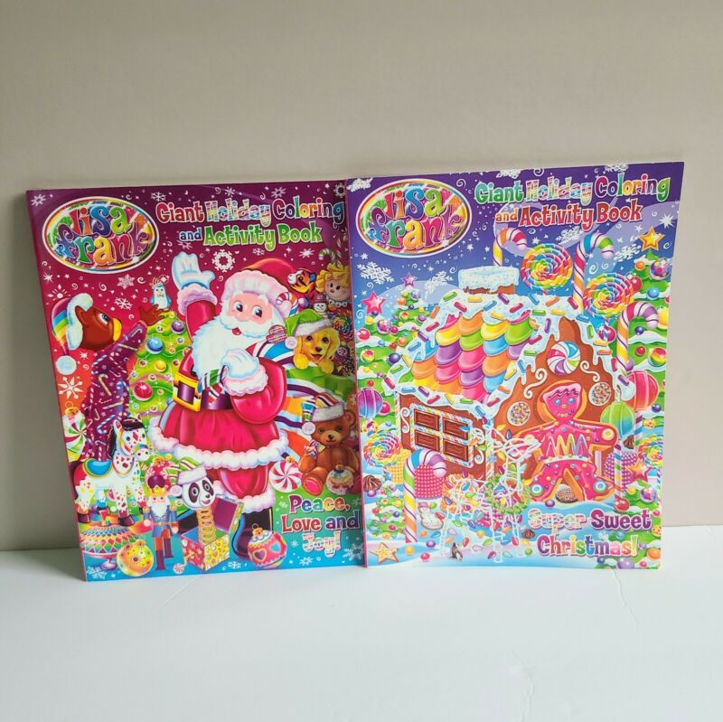 Lot Of 2 Lisa Frank Coloring Books Giant Holiday Activity Book, Christmas Winter