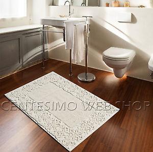 Tappeto bagno barocco in 3 misure prodotto in italia panna 60x120 60x90 40x60 ebay - Tappeto bagno blu ...