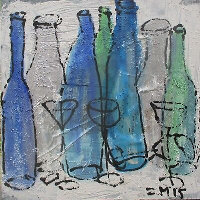 Wein Vino Flaschen 40x40 Sonja Zeltner-Müller Acryl/LW Kunstmüllerei Düsseldorf