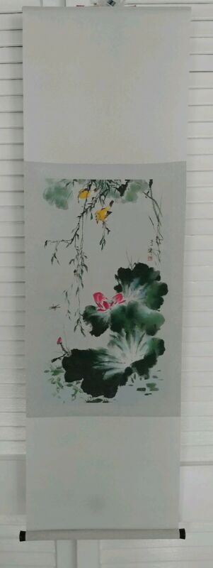 "Japanese Painting Hanging Scroll Silk 12""×40"""