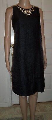 London Times sleeveless black party dress, shimmery, neck gems lined sz 12 EUC