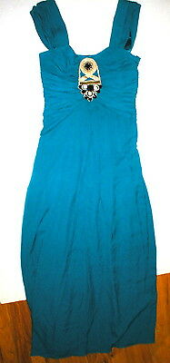 New NWT Ocean Blue Temperley London Dress Womens 12 Evening Gown Jewels Silk Ope