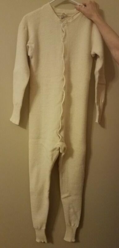 "Mens Vintage Windsor Wear 100% Wool Union Suit Long John  29 1/2"" Chest"
