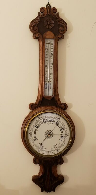 Antique English Victorian Ornate Carved Oak Aneroid Wall Barometer & Thermometer