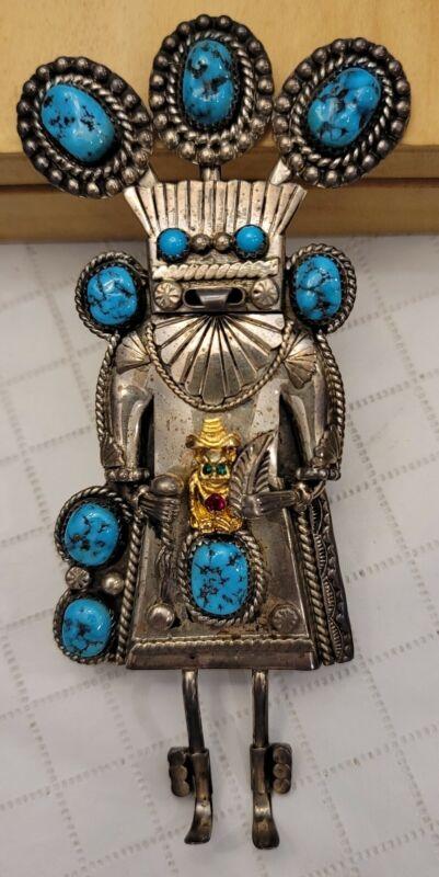 Royal Order Jesters Billiken Kachina Sterling Silver Turquoise Bolo Tie 🇺🇸USA